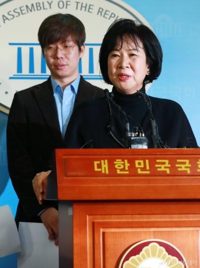 [사진]빙상계 성폭력 피해자 추가 폭로 기자회견하는 손혜원 의원