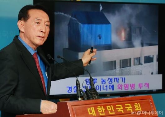 [사진]김석기 '용산참사, 시위대 탓'