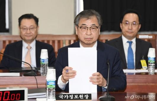 [사진]국회 정보위 출석한 서훈 국정원장...북미정상회담 결과 보고