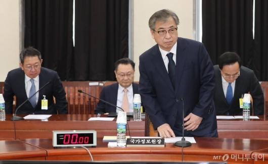 [사진]정보위 출석한 서훈 국정원장과 1·2·3차장들