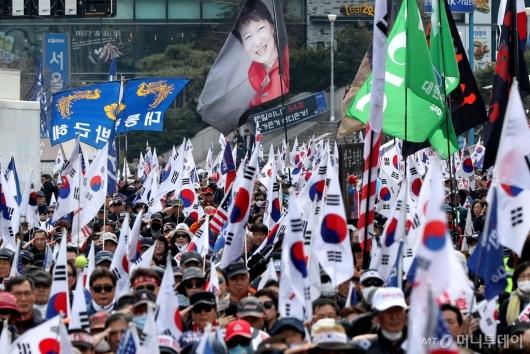 [사진]박근혜 전 대통령 탄핵 2년 태극기집회