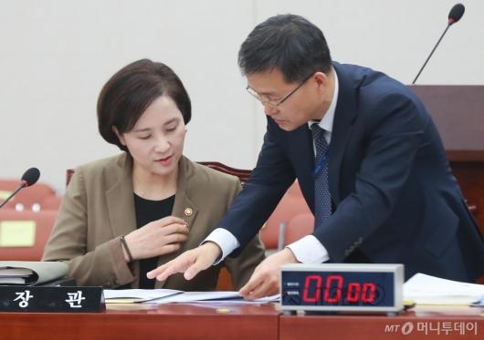 [사진]교육위 전체회의 참석한 유은혜 장관