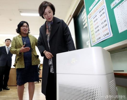 [사진]초등학교 공기청정기 살펴보는 유은혜