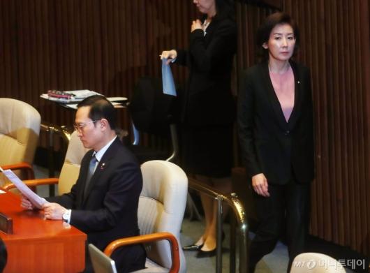 [사진]여·야 긴장 속 홍영표-나경원