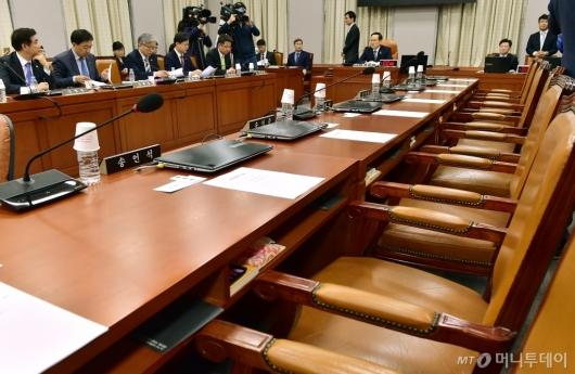 [사진]국회 운영위, 자한당 불참으로 파행