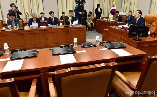[사진]자유한국당 불참으로 국회 운영위 파행