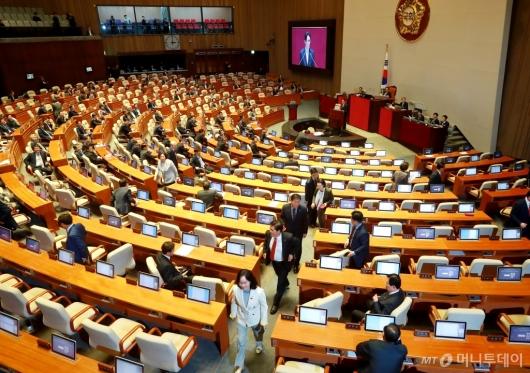 [사진]윤소하 원내대표 발언에 퇴장하는 자유한국당