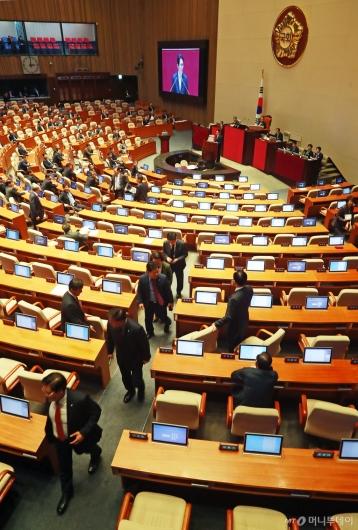 [사진]윤소하 대표발언에 퇴장하는 자유한국당