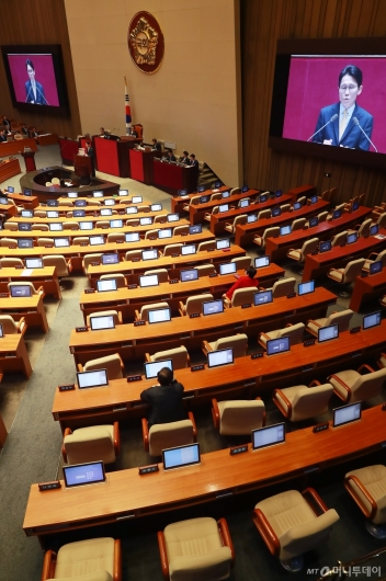 [사진]윤소하 원내대표 발언에 퇴장한 자유한국당