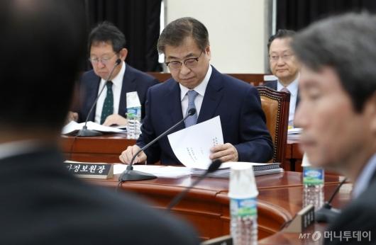 [사진]자료 살펴보는 서훈 국정원장