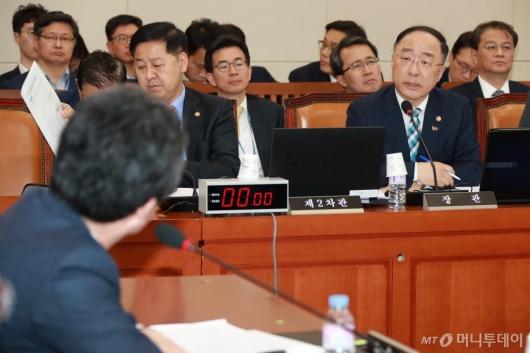 [사진]기재위 전체회의 출석한 홍남기 부총리