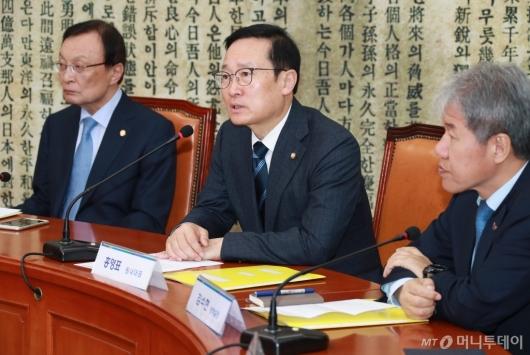 [사진]고위당정청 모두발언하는 홍영표 민주당 원내대표
