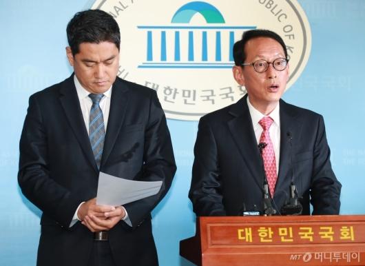 [사진]김도읍-오신환, 이미선 자진사퇴 촉구 기자회견