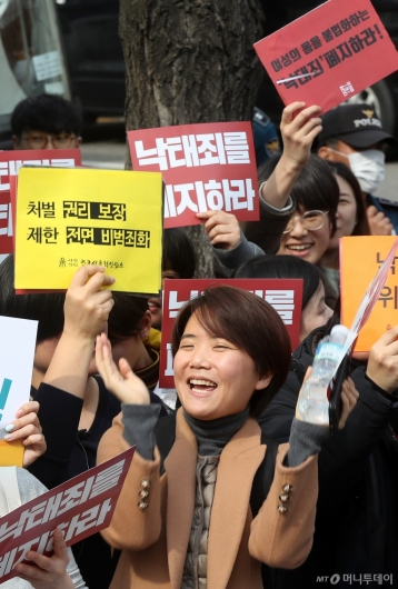 [사진]'낙태죄 헌법불합치' 환호