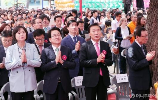 [사진]봉축법요식 참석한 여야 4당 대표