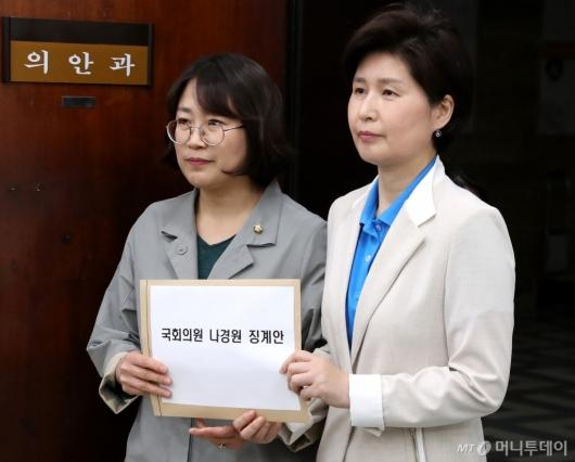 [사진]백혜련-추혜선 의원, 국회의원 나경원 징계안 제출