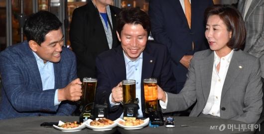 [사진]여야3당 원내대표 맥주회동