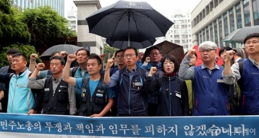 [사진]김명환 위원장 '경찰서 출석 전 입장 발표'