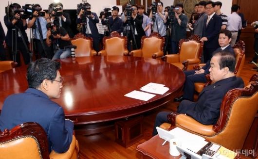 [사진]국회의장, 자유한국당 제외한 여야 원내대표 회동
