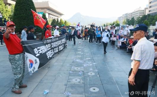 [사진]대한애국당 농성천막 철거