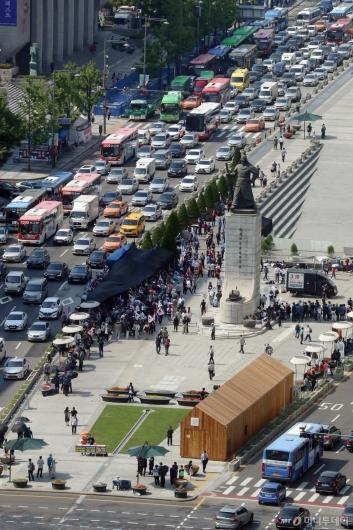 [사진]광화문광장에 재설치된 대한애국당 천막