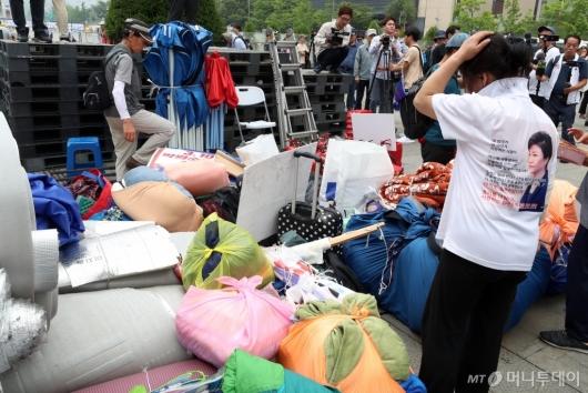 [사진]우리공화당 천막 임시이동