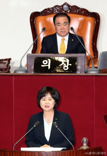 [사진]비교섭단체 대표연설하는 이정미