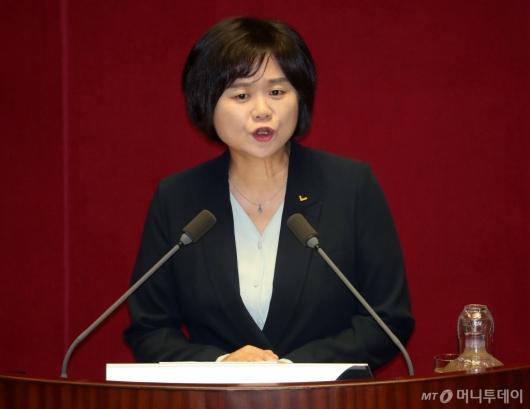 [사진]국회 연설하는 이정미 대표