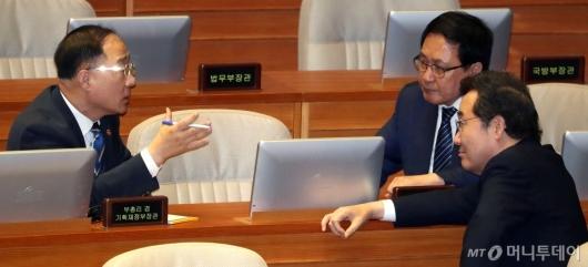 [사진]총리-경제부총리 대화
