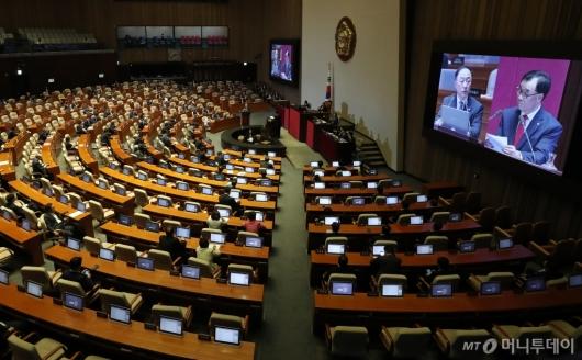 [사진]대정부질문 받는 홍남기 부총리