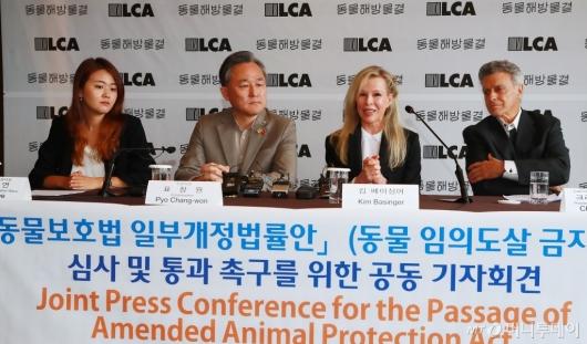 [사진]킴 베이싱어 참석한 '동물 임의도살 금지법' 촉구 기자회견