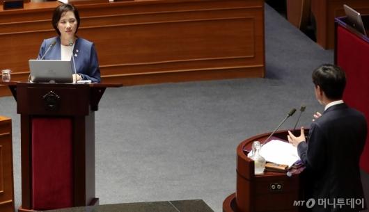 [사진]대정부질문 받는 유은혜