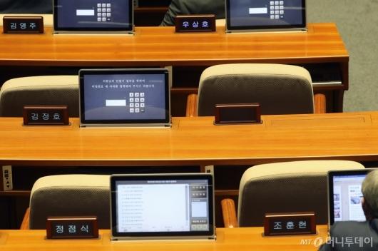 [사진]국회 본회의장 사라진 최경환 명패