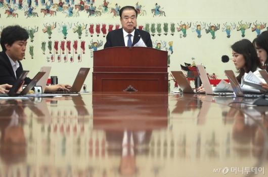 [사진]문희상 의장 취임1주년 기자회견