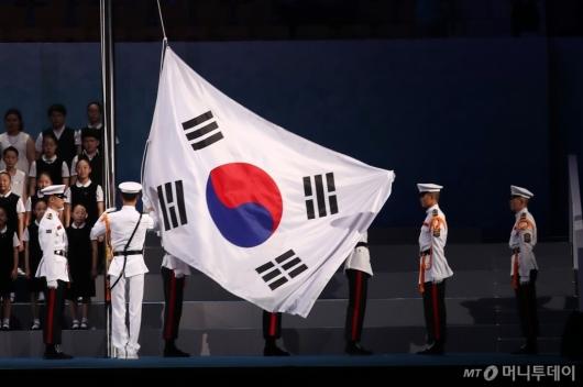 [사진]2019 광주세계수영선수권대회 '태극기 게양'