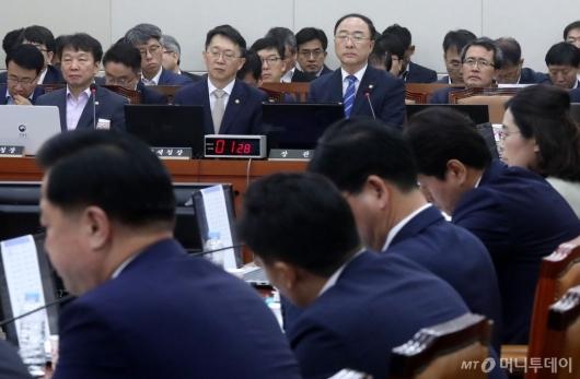 [사진]기재위 전체회의 출석한 홍남기
