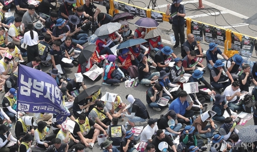 [사진]폭염 속 민주노총 총파업 대회