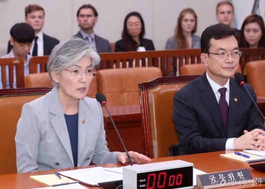 [사진]외통위 전체회의 답변하는 강경화 장관
