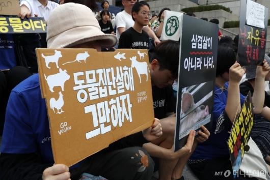 [사진]'동물 집단 살해 그만하자'