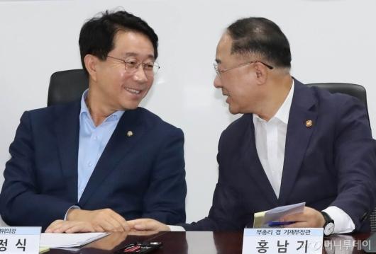 [사진]손잡고 대화하는 홍남기-조정식