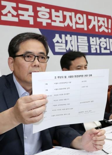 [사진]조국 후보자 딸 관련 의혹 말하는 곽상도