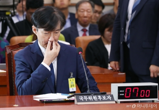 [사진]조국, 인사청문회 출석