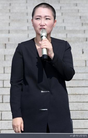 [사진]이언주, 조국 장관 임명에 항의