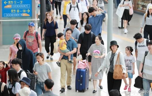 [사진]'서울역 도착한 귀경객들'