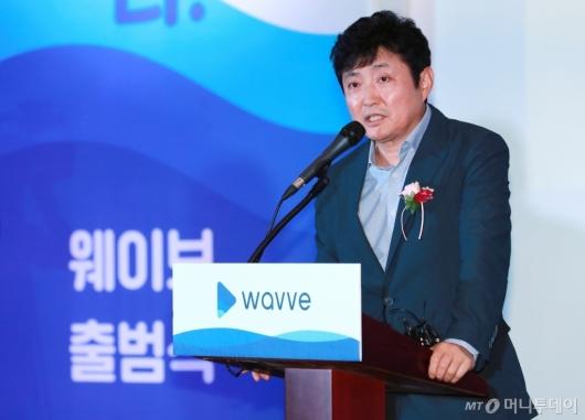 [사진]통합 OTT '웨이브' 출범식 참석한 박정훈 SBS 사장