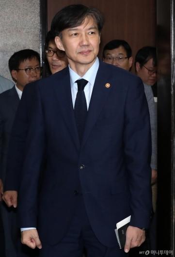 [사진]정의당 방문한 조국 장관
