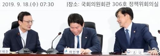 [사진]대화하는 이해찬-조국