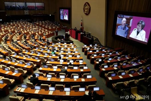 [사진]대정부 질문 경청하는 홍남기 부총리