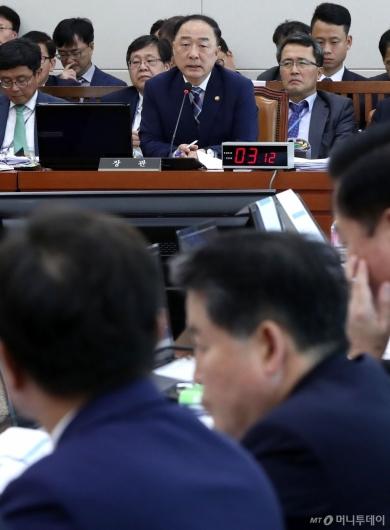 [사진]기재위 국정감사 출석한 홍남기 부총리