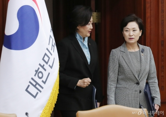 [사진]국정현안점검조정회의 참석하는 박영선-김현미 장관